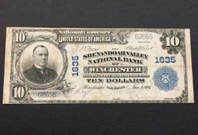Old Shenandoah Valley National Bank Ten Dollar Bill