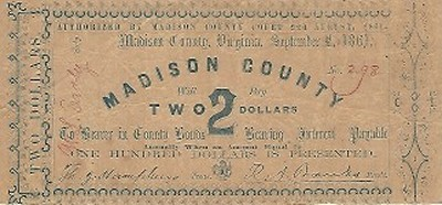 Old Madison County Two Dollar Note