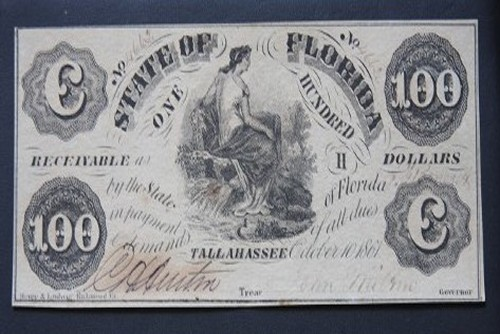$100 1861 Tallahassee State of Florida