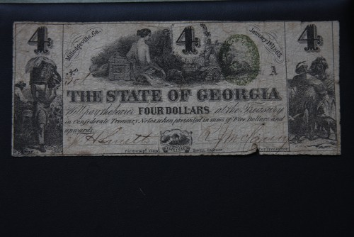 $4 1863 Milledgeville State of Georgia