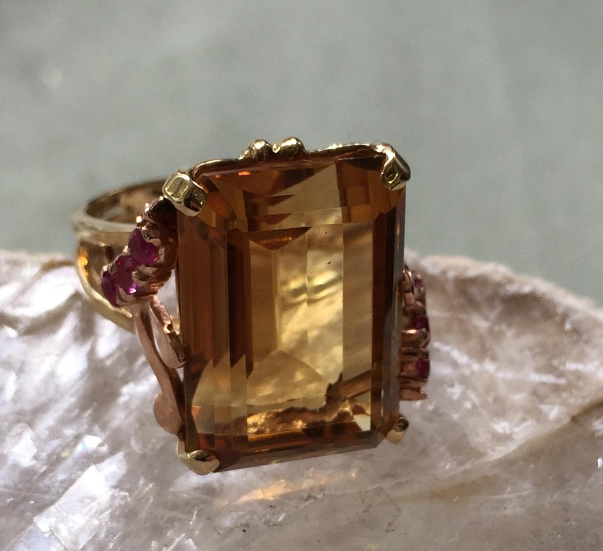 Estate 14 Kt Ring Lovely Emerald Cut Citrine Rubies at sides
