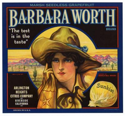 Fruit Label Barbara Worth 1920's