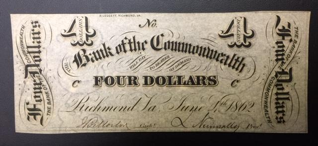 Virginia, $4 Bank of the Commonwealth