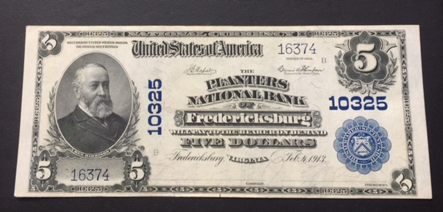 $5 1902 Planters National Bank Fredericksburg VA