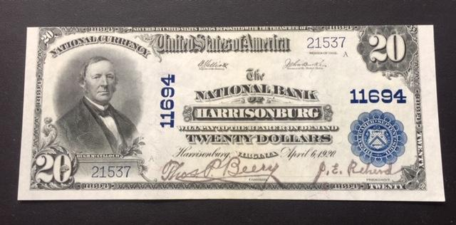 $20 1902 National Bank of Harrisonburg VA