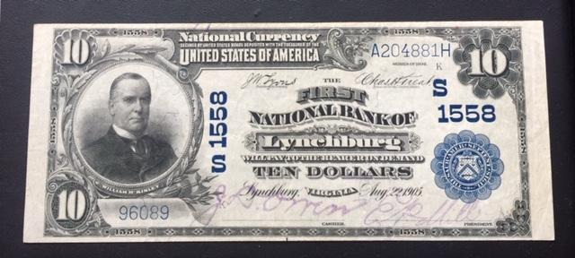 $10 1902 First National Bank of Lynchburg VA