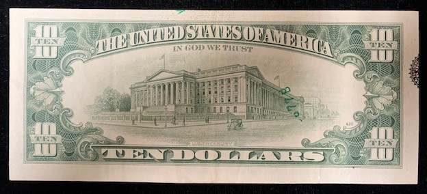 $10 FRN 1981 Extension fold Seal and partial serial number  Reverse