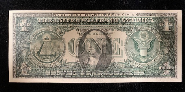 $1 1977 FRN  Offset Printing error complete transfer front to back